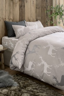 Brushed Cotton Geo Stag Duvet Cover And Pillowcase Set