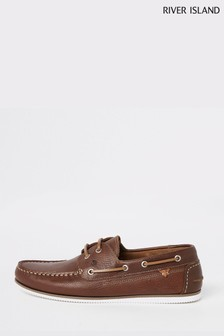 River Island Tan Tumbled Leather Boat Shoe