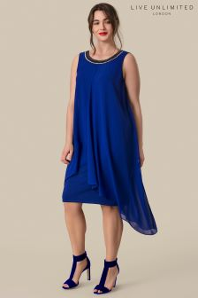 Live Unlimited Blue Chiffon Overlay Dress With Beaded Trim