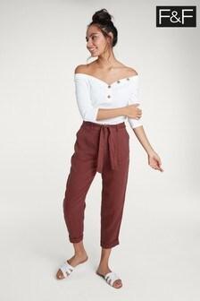 F&F Red Linen Trouser