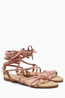 Velvet Lace-Up Sandals