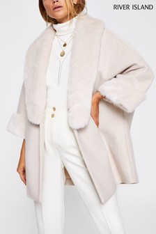 River Island Cream Wool Cape