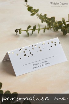 Personalised Confetti Foil Table Place Card by Wedding Graphics