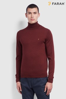 Farah Red Gosforth Merino Jumper