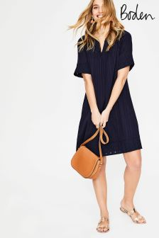 Boden Navy Helene Broderie Dress