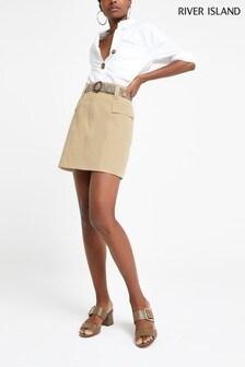 River Island Beige Belted Mini Skirt