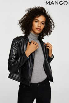 Mango Black Leather Biker Jacket