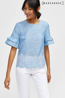 Warehouse Blue/White Broderie Hem Tee