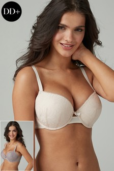 Phoebe DD+ Lightly Padded Embroidered Balcony Bras Two Pack