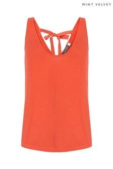 Mint Velvet Orange Scoop Neck Knitted Vest