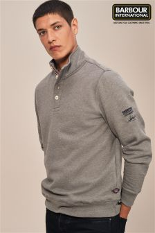 Barbour® International Grey Wrench Half Button Sweatshirt