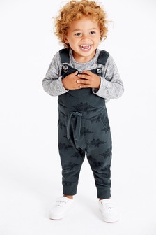 Dino All Over Print Dungarees With T-Shirt Set (3mths-7yrs)