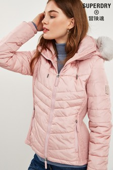 Superdry Pink Luxe Fuji Coat