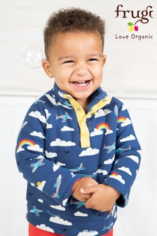 Frugi Organic Blue Warm Fleece Lined Aeroplane Sweatshirt
