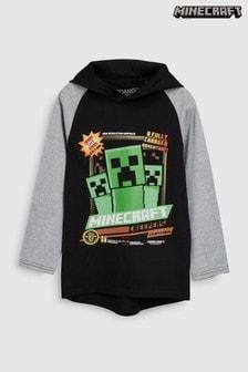 חולצת טי עם קפוצ'ון ושרוול ארוך של Minecraft (גילאי 4 עד 14)