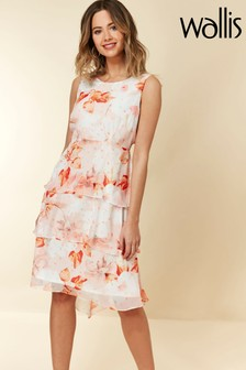 Wallis White Confetti Triple Tiered Dress