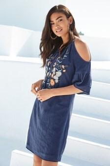 Off Shoulder Embroidered Dress