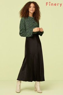 Finery London Black Alberte Satin Midi Skirt