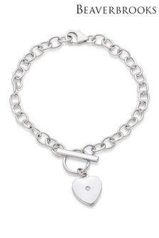 Beaverbrooks Children's Mini B Silver Diamond Heart Bracelet