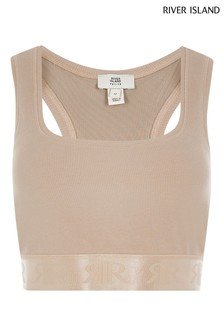 River Island Petite Beige Light Sl Branded Racer Crop Top