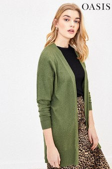 Oasis Green Open Front Cardigan