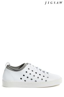 Jigsaw White Antibes Perforated Trainer
