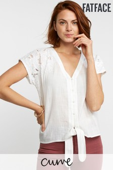 FatFace White Kitty Cutwork Tie Front Top