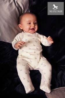 The Little Tailor Cream Baby Rocking Horse Sleepsuit