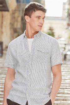 Short Sleeve Striped Linen Blend Shirt