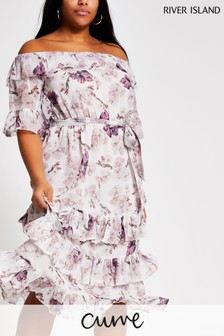 River Island Pink Medium Bardot Ruffle Maxi Dress