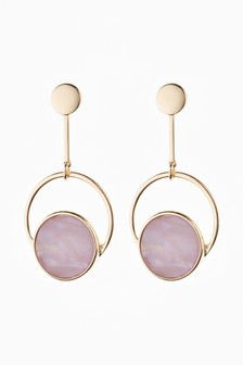 Circle Resin Drop Earrings