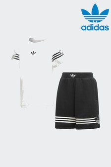 adidas Originals White Outline Short And Tee Set