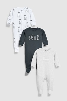 Slogan Sleepsuits Three Pack (0-18mths)