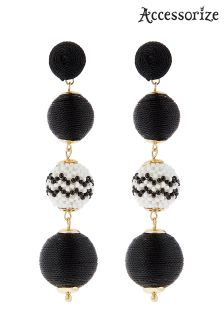 Accessorize Black Monchrome Ball Earrings