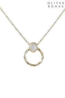 Oliver Bonas White Hythe Oval Stone & Textured Detail Gold Plated Pendant Necklace