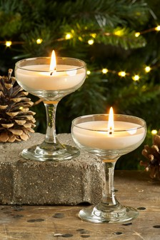Set of 2 Fizz Champagne Shaped Glass Candles