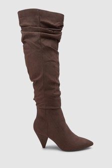 Cone Heel Super Slouch Knee High Boots