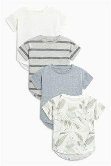 Kurzärmelige T-Shirts mit Struktur im 4er-Pack (3 Monate bis 6 Jahre)