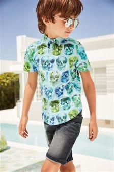 Košile s krátkým rukávem a potiskem lebek (3-16 let)