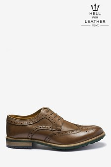 Cleated Sole Leather Brogue Shoes