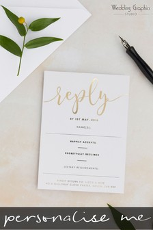 Personalised Script Foil RSVP Card by Wedding Graphics