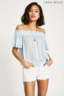 Jack Wills Blue Hazelton Stripe Double Sleeve Top