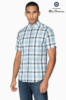 Ben Sherman Navy Short Sleeve Dogtooth Check Shirt