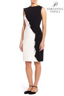 Adrianna Papell Black Colourblock Knit Crepe Sheath Dress