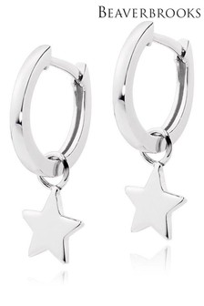 Beaverbrooks Sterling Silver Star Charm Hoop Earrings