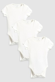 Pointelle Short Sleeve Bodysuits Three Pack (0mths-2yrs)