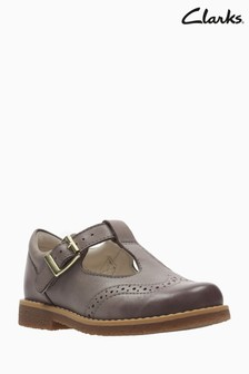 Clarks Grey Leather Comet Reign Brogue T-Bar Toddler Shoe