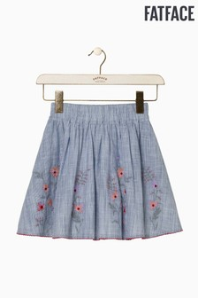 FatFace Blue Embroidered Fine Stripe Skirt