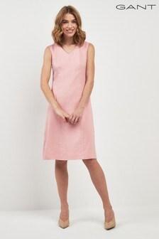 GANT Stretch Linen Blend V-Neck Dress