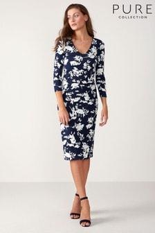 שמלת מעטפת מבד ג'רזי עם צווארון וי של Pure Collection בצבע כחול